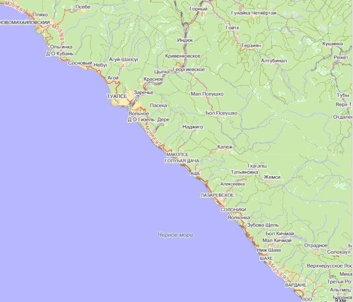 Агой на карте Черноморского побережья. .  Карта домов Агой. .  Карты курортов побережья. .  Поселок Агой на картах...